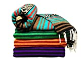 Spirit Quest Supplies Bodhi Blanket Mexican Style Throw Blanket - Falsa Blanket for Yoga, Picnics, Beach, Tapestry, Camping, & More (Dancing Bear: Teal, Brown, Red, Black, Tan)