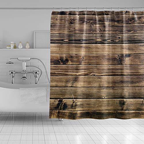 """OFila 69""""X70"""" Rustic Brown Wood Shower Curtain for Bathroom,Grunge Wooden Boards Shower Curtain Set with Hooks Farmhouse Shower Curtain"""