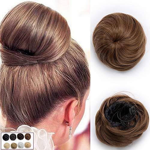 45g Chignon Capelli Finti Extension Lisci Updo Bun Regolabile con Clip Hair Scrunchie Parrucchino - Castano