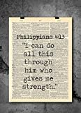 Bible Verses | Philippians 4:13 - Him Who Gives Me Strength - Dictionary Art Print - Bible Verse Quote- Vintage Dictionary Art Decor Home Vintage Art Abstract Prints Wall Art Home Decor - Print Only