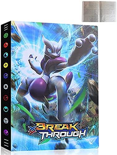 Classeur Compatible Avec Cartes Pokemon, Porte Carte Album Carte Titulaire Livre Compatible Avec Pokemon, Albums de Cartes à Collectionner, 24 Pages Capacité de 432 Cartes (3D-Mewtwo)