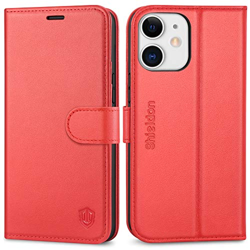"""SHIELDON Case for iPhone 12 Mini, Genuine Leather Wallet Case for iPhone 12 Mini RFID Blocking Credit Card Holder Magnetic Flip Cover Kickstand Case Compatible with iPhone 12 Mini (5.4"""" 2020) - Red"""