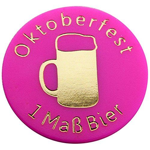 100 Pfandmarken, Wertchips, Pfandchips Einkaufswagenchipsp mit Logo Durchmesser 23mm, zweiseitig bedruckt P1-Oktoberfest 1 Maß Bier von SchwabMarken