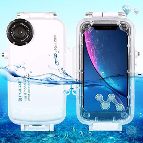 Egurs Underwater Waterproof Tauchhülle für iPhone XS MAX, 40m Tiefseetauchhülle, Schutzhülle für Tauchabdeckung, Professionelle Fotohandy-Hülle weiß iPhone XS max