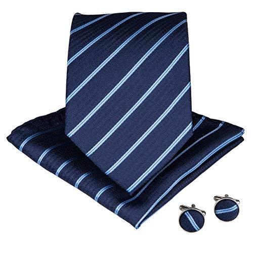 WOXHY Cravate Homme Bleu rayé 8 cm Large Hommes Cravates Poche carré Boutons de Manchette Affaires Cravate Costume