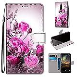 i-Case Etui en PU Cuir Coque pour Nokia 6.1 Flip Folio Housse Magnétique Bouquet de Roses Étui a...