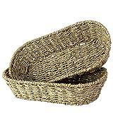 Juego de 2 bandejas ovaladas para servir, de hierba marina | hecho a mano chic decorativo rústico bandeja de almacenamiento para servir pan, fruta, mesa de café, té de la tarde