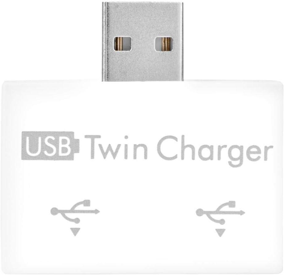 Yoidesu USB2.0 hub with Two USB Ports, Portable Extra Light 2 Port USB 2.0 Data hub for Windows Laptop, Network hub USB 2.0 hub multiport Adapter(White)