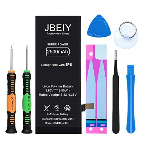 Batería de Repuesto Compatible con IP 6G, JBEIY 2600 mAh Batería de Repuesto de súper Alta Capacidad Nueva 0 ciclos, con Kit de Herramientas de Repuesto Profesional e Instrucciones -1 año de garantía