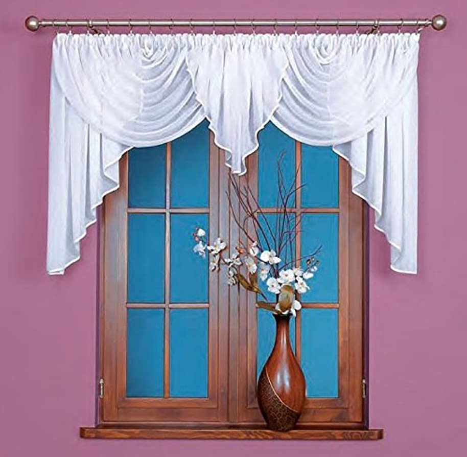 Beautiful voile swag curtains, jardini??re in White, ready made 100 cm x 400 cm ( 39 x 157.5 ) by Home Decor