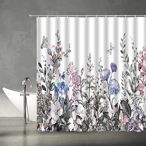 """XZMAN Watercolor Floral Shower Curtain Vintage Herbs Wildflowers Botanical Flowers Butterfly Spring Nature Scenery Pink Gray Blue White Art Pring Fabric Bathroom Decor Set with Hooks,(70"""" WX70 H)"""