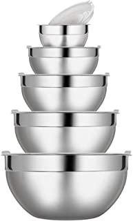 Stainless Steel Mixing Bowls Set with Lids, 5 Piece Nesting Bowls Measurement Marks Polished Mirror Finish for Food Storage Mixing and Prepping