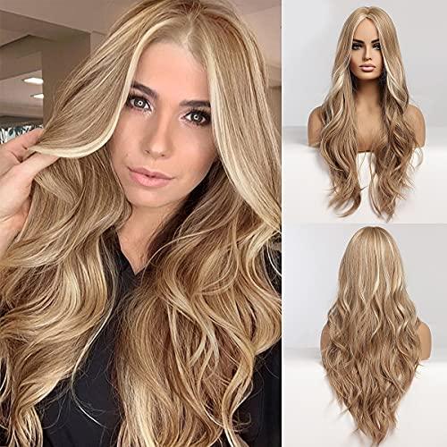 EMMOR perruque longue blonde pour femme - perruques de partie moyenne de cheveux ondulés naturels, utilisation quotidienne de Cosplay