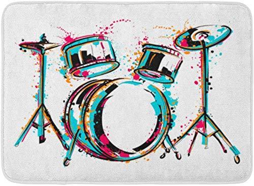 AoLismini Fußmatten Badteppiche Outdoor/Indoor Türmatte Sketch Drum Kit Spritzer in Aquarell Bunte Reggae Schlagzeuger Musik Badezimmer Dekor Teppich Badematte