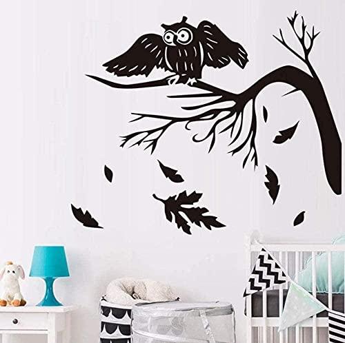 50x42cm otoño árbol hojas caídas búhas pájaro pegatina de pared niños habitaciones de la pared de la pared del vinilo etiquetas calcomanías decoración del hogar