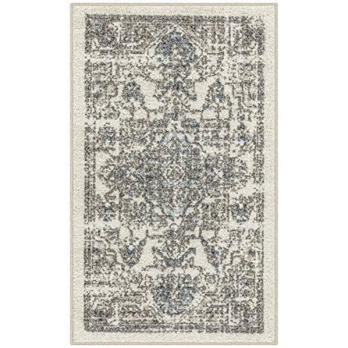 Maples Rugs Distressed Tapestry Vintage Kitchen Rugs Non Skid Accent Area Floor Mat [Made in USA], 1'8 x 2'10, Neutral