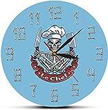 Reloj De Pared Reloj De Pared Decoración Calavera Cocinero Reloj De Pared Moderno Reloj Esqueleto Con Gorro De Cocinero Cuchillo Cuchilla Restaurante Cocina Decoración Divertido Regalo De Chef Adecuad