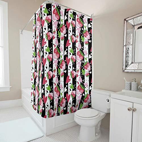 Sweet Luck Erdbeere Duschvorhang Anti-Schimmel Wasserdicht Waschbar Stoff Vorhang Polyester Textil Badvorhang mit Haken für Badewanne White 180x200cm