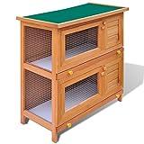 Festnight Outdoor Rabbit Hutch Small Animal House Pet Cage 4 Doors Wood