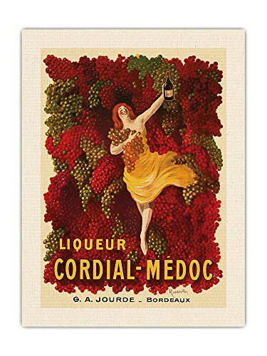 Pacifica Island Art Liqueur Cordial-Médoc - Vino Francese - G.A. Jourde Winemakers Bordeaux France - Poster pubblicitario vintage di Leonetto Cappiello c.1907 - Tela organica RAW 45,7 x 61 cm