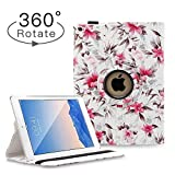 Hsxfl New iPad 9.7 inch 2018 2017/ iPad Air Case - 360 Degree Rotating Stand Smart Cover Case with Auto Sleep Wake for Apple iPad 9.7' (6th Gen, 5th Gen)/iPad Air (Camellia)