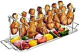 Ycsax BBQ Chicken Drumsticks Rack, Edelstahl Zum Aufhängen Von Bis Zu 14 Hähnchenschenkeln Oder -flügeln Mit Auffangschale, Für Kamado Joe Big Green Egg, Smoker Grill Oder Ofen O