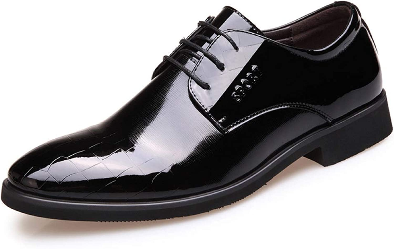 Shiney Men's shoes Business Dress Wedding England Pointed Leather Casual Dress Office Career