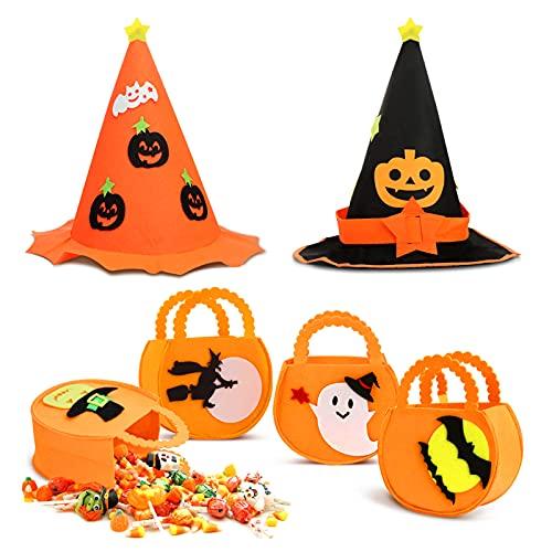 DORART Juego de Decoración Halloween 4pcs Bolsas de Dulces de Halloween Y 2pcs Sombrero de Bruja, Bolsas de Truco o Trato de Paño de Fieltro, Ideal para Halloween Accesorios y Decoración de Fiesta