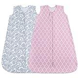 Jomolly Baby Schlafsack, 2er-Pack, Tragbare Decke für Sommer (Rosa/Blumenmuster)(3-6 Monate)