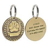 Etiqueta de identificación para mascotas y placa de identificación personalizada para perros y gatos Accesorio de acero inoxidable-Redondo-Tamaño libre