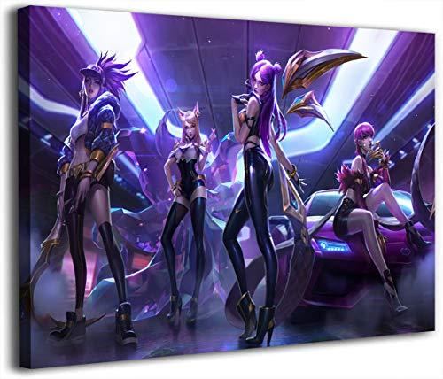 Póster de League Legends en lienzo con diseño de videojuegos, 61 x 91 cm, diseño de Kda Worlds