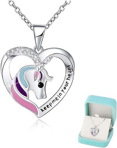 Collier Licorne Filles Cœur Bijoux en argent sterling 925 'Keep me in your heart' Pendentifs Zircon Brillant Cadeau d...