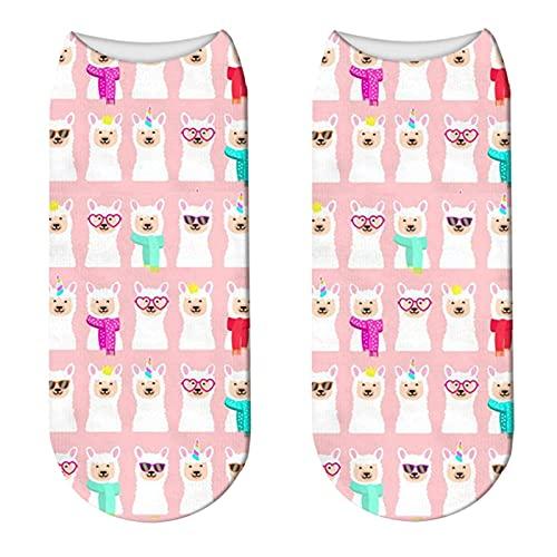 OMING Calcetines 4 Pares bajo Tobillo Calcetines de ovejas niñas Calcetines Divertidos niños Unicornio Calcetines de Animales Calcetines Casuales Calcetines Deportivos para Correr