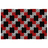 Zerbino di Benvenuto Zerbino di Benvenuto Nero Bianco Rosso a Scacchi Greco Ornamentale Geometrico Moderno Tappeto d'ingresso zerbino in PVC Antiscivolo per Interni ad Alto Traffico