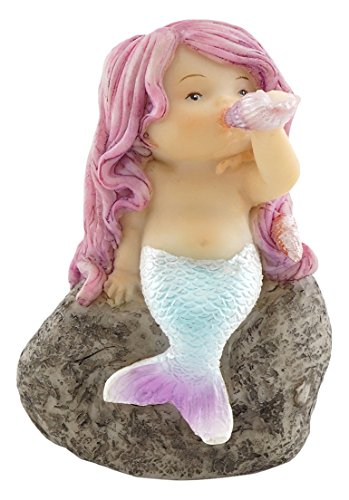 Top Collection Miniature Fairy Garden and Terrarium Little Mermaid Playing with Shell Statue