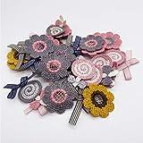 Parches de Flores Apliques de Tela Parches de Flores de Colores Decoración Coser Parches Para Bolsos Sombrero Patch Sticker DIY Costura de Apliques Pegatina de Parche Para Ropa para Jeans 40 Piezas