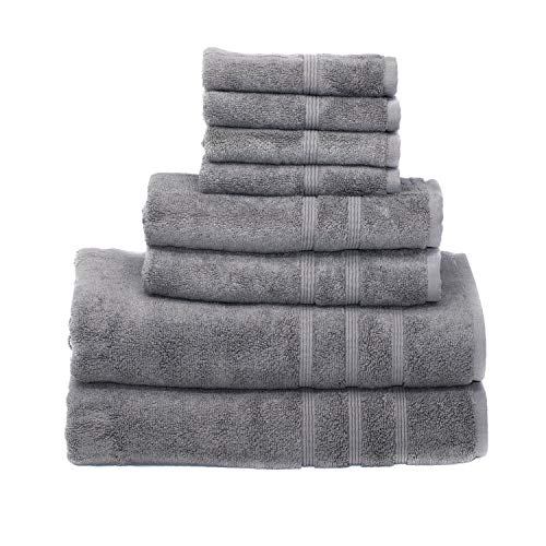 Mosobam 700 GSM Luxury Bamboo 8pc Large Gray Bathroom Set, Grey, 2 Bath Towels 30X58 2 Hand Towels 16X30 4 Face Washcloths (Wash Cloth) 13X13, Bulk Prime Turkish Shower Towel Sheets Sets, Quick Dry