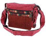 GURU SHOP Bolso Pequeño, Bolso de Cáñamo étnico, Bolso Goa - Rojo, Unisex - Adultos, Algodón, Tama�o:One Size, 18x23x10 cm, Bolsas de Hombro