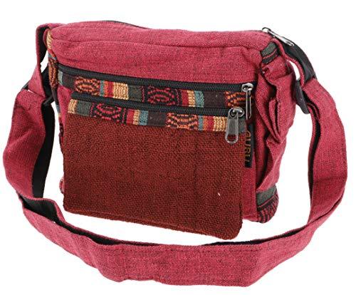 GURU SHOP Kleine Schultertasche, Ethno Hanf Tasche, Goa Tasche - Rot, Herren/Damen, Baumwolle, Size:One Size, 18x23x10 cm, Alternative Umhängetasche, Handtasche aus Stoff