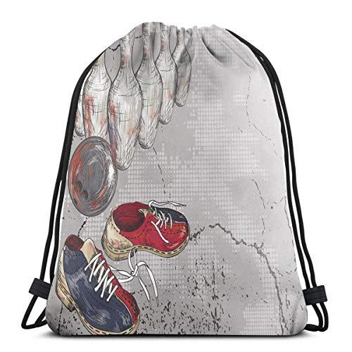 Kordelzug Rucksäcke Taschen, Bowling Schuhe Pins und Ball im künstlerischen Grunge Style Print