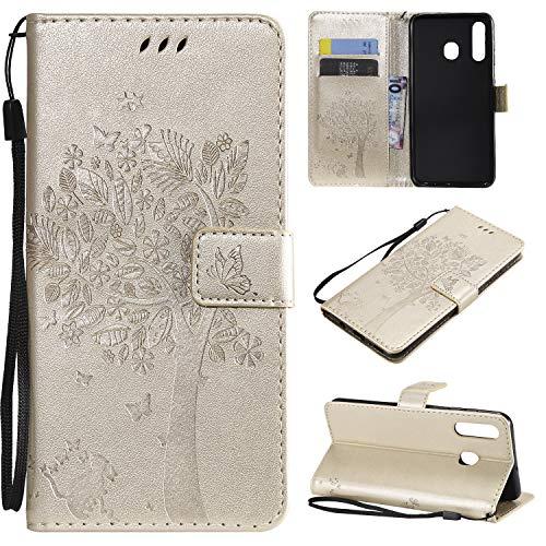 nancencen Hülle Kompatibel mit Samsung Galaxy A8S, Flip-Hülle Handytasche - Standfunktion Brieftasche & Kartenfächern - Baum & Katze - White Gold