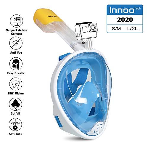 Innoo Tech Vollgesichts-Schnorchelmaske, 180° Seaview Tauchmaske Schnorchelmaske für Kinder und Erwachsene, mit Kamerahalterung L-XL Blau L