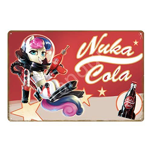 muzi928 Blechschild Metallplakat Vintage Fallout 3 4 Spiel Metall Zinn Zeichen Wandkunst Druck Aufkleber für Pub Bar Club Shop Home Dekoration Nuka Cola Poster 20x30cm YB0014B