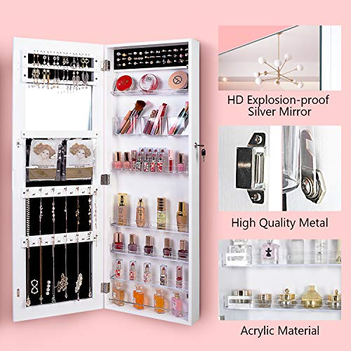 OUTDOOR DOIT Jewelry Cabinet Jewelry armoire with Full Length Mirror Lockable Jewelry Organizer Full Length Mirror Hanging Mirror Large Capacity Dressing Mirror- 6181 White