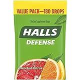 HALLS Defense Assorted Citrus Vitamin C Drops, Dietary Supplement Drops, Value Pack, 180 Drops