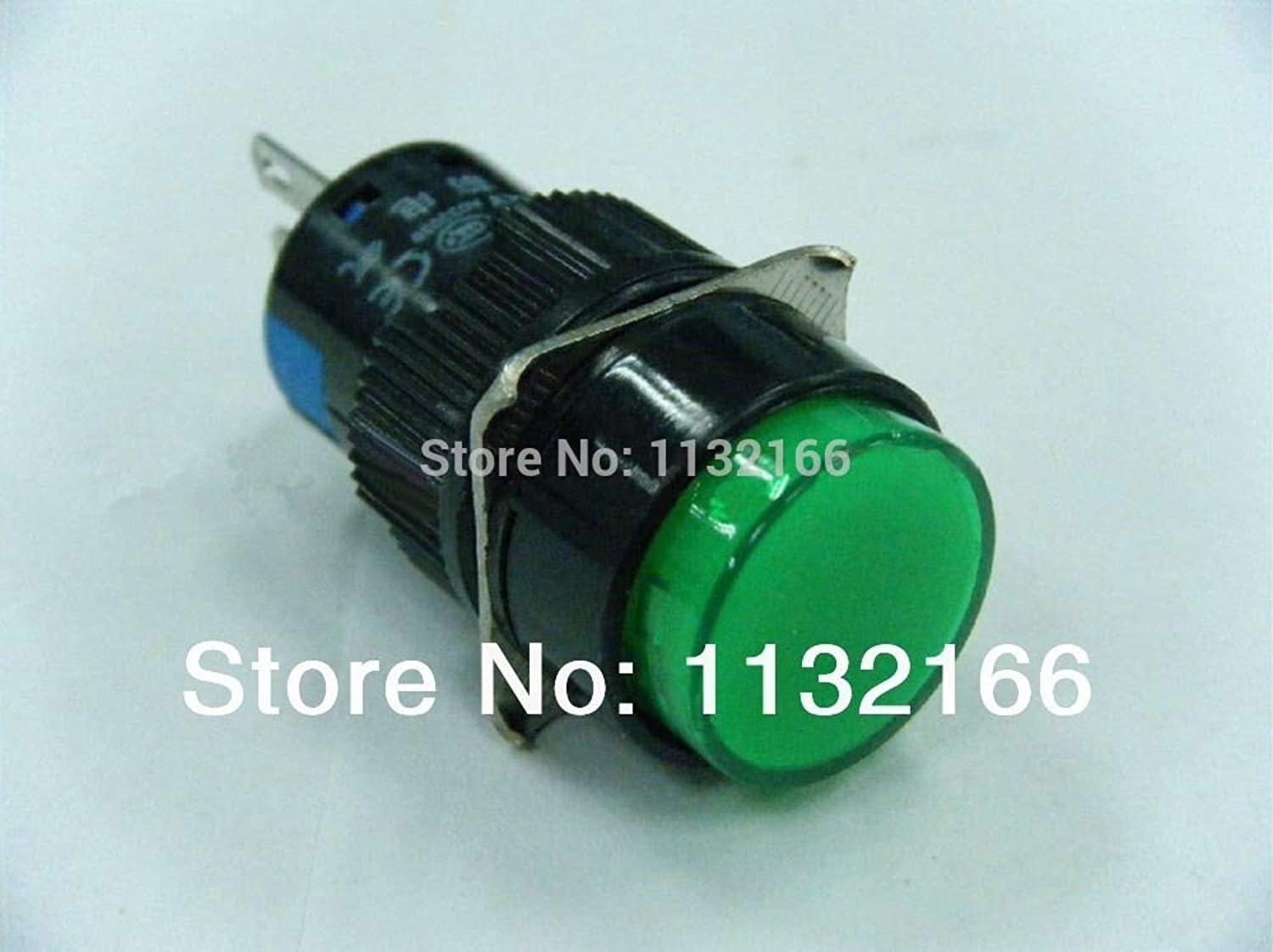 10pcs 6V 12V 24V 110V 220V for Choose Pilot Light Lamp 16mm Hole Green 1NO 1NC Contact 5 Pin SPST Momentary Push Button Switch