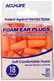 Acu-Life Ear Plugs (18 Pair) | Ear Plugs for Sleeping, Snoring, Loud Noise, Concerts, Construction, Studying & Traveling | NRR 31