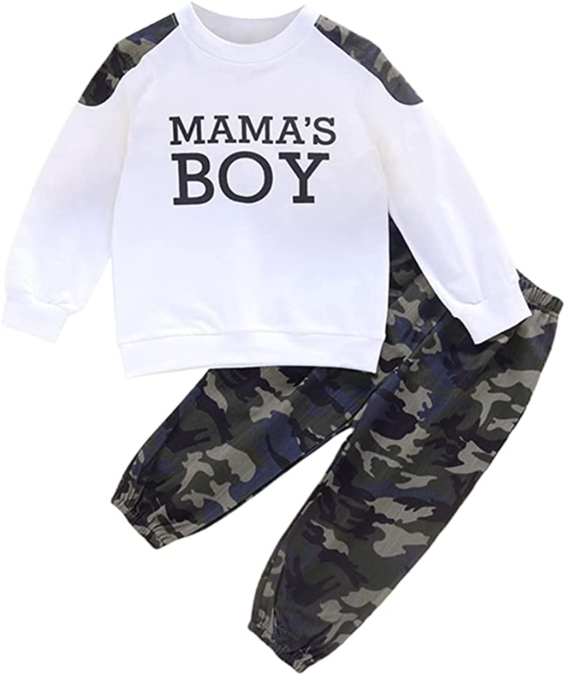 Boys Camouflage Print Outfits Sets, Boys Girls Short Sleeve T-Shirt + Camo Shorts Sets or Long Sleeve Top + Camo Trouser 2PCS Suits Sets