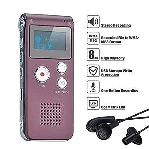 Covvy Grabadora de Voz Dictáfono LCD USB Grabadora de Voz Digital Profesional Portátil Reproductor MP3 de Larga Duración Batería Recargable-8GB (Vino rojo)