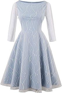 YYLZA Net Yarn Embroidery Party Dresses Women Retro A Line Vintage Dresses
